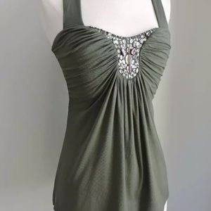 WHITE HOUSE BLACK MARKET Green Jeweled Halter Top